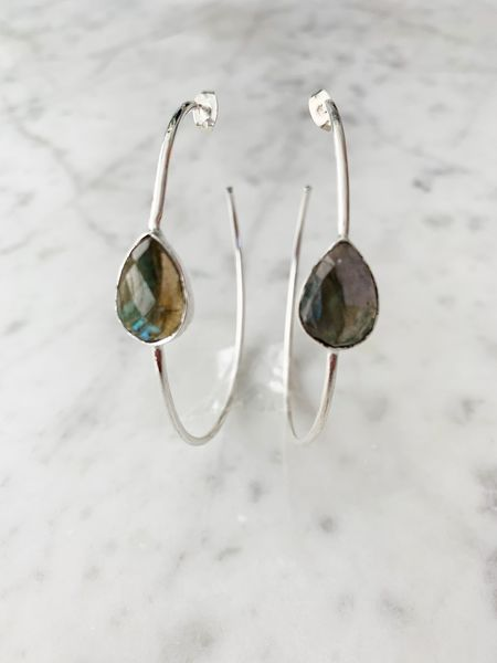 Labradorite Chloe Silver Hoop Earrings