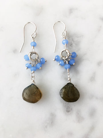 Cluster Drop Earrings Chalcedony and Labradorite