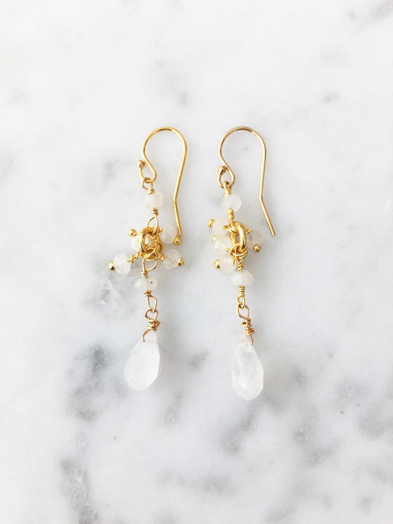 Cluster Drop Earrings Moonstone
