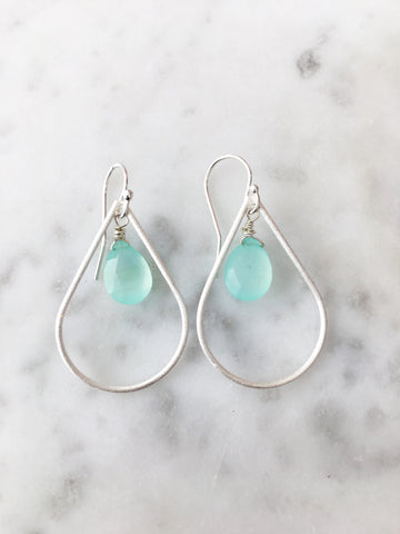 Silver Pear Drop Earrings Chalcedony