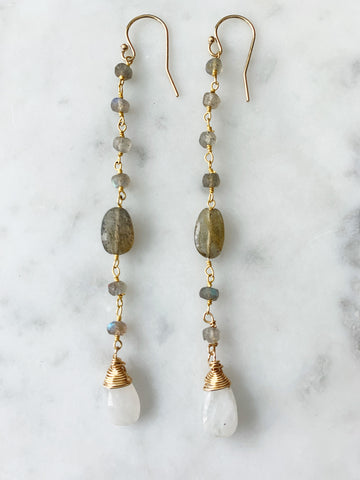 Labradorite with Moonstone Wrap Long Chain Earring