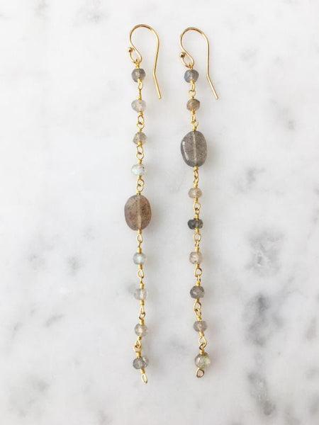 Labradorite Long Chain Earring