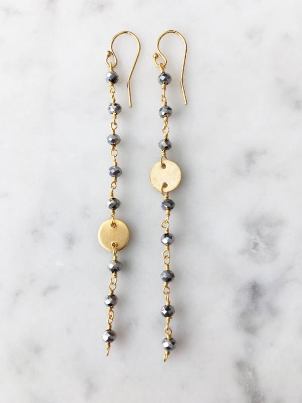 SALE Polished Pyrite Coin Long Chain Earring