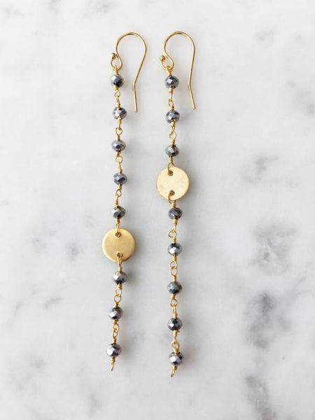 Polished Pyrite Coin Long Chain Earring