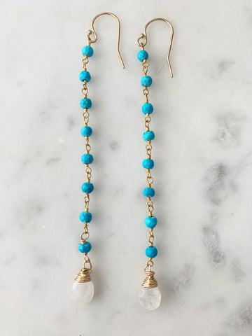 Turquoise with Moonstone Wrap Long Chain Earring