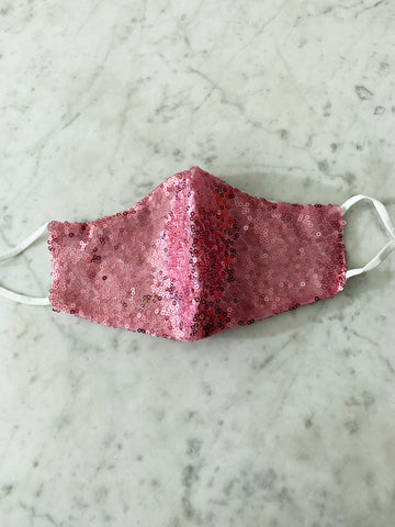 Dark Pink Glitter Face Mask ~ Adjustable