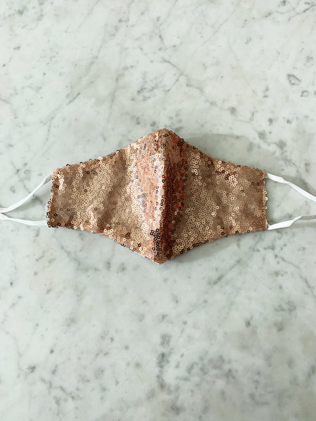 Rose Gold Glitter Face Mask ~ Adjustable