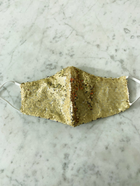 Gold Glitter Face Mask ~ Adjustable