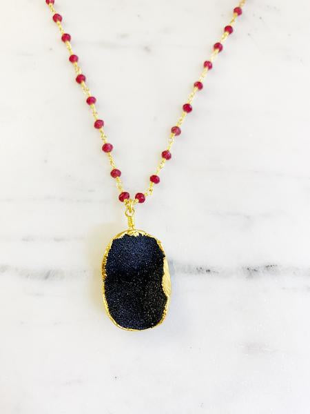 SALE Ruby with Black Druzy Drop Necklace