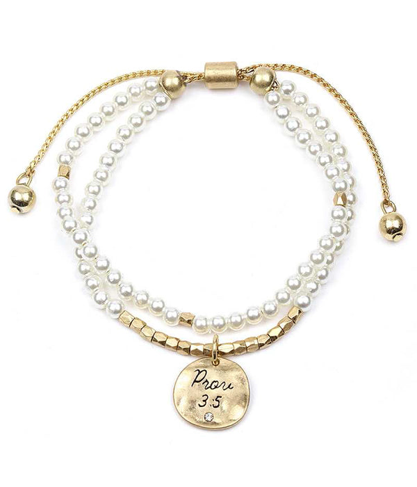 Handmade and Religious Inspired Double Pearl Chain Adjustable Bracelet - Prov 3:5