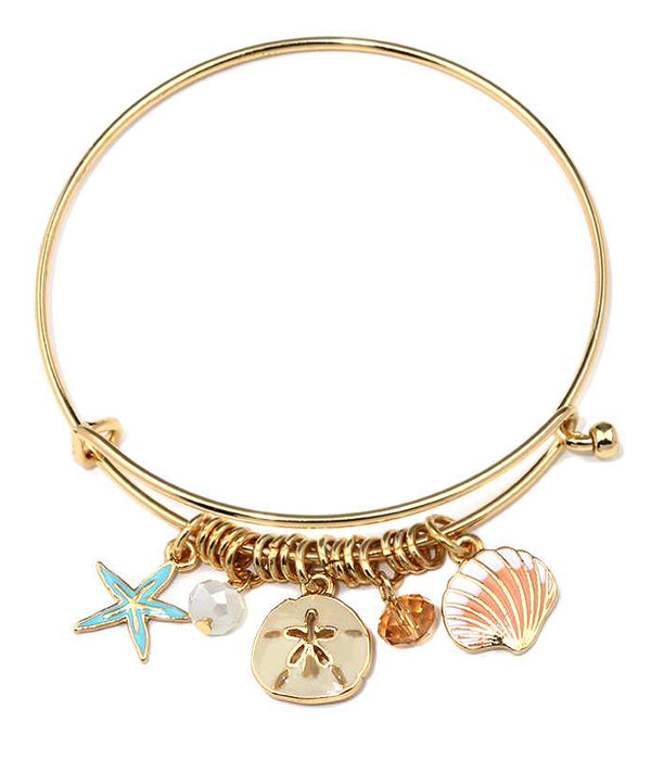 Gold Starfish and Sand Dollar Charm Wire Bangle Bracelet