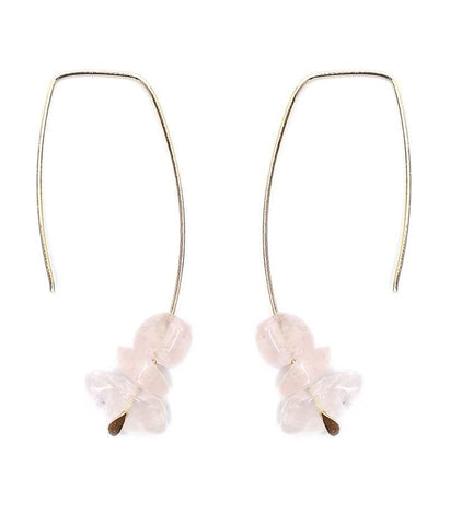 Gold Chunky Rose Quartz and Wire Earring