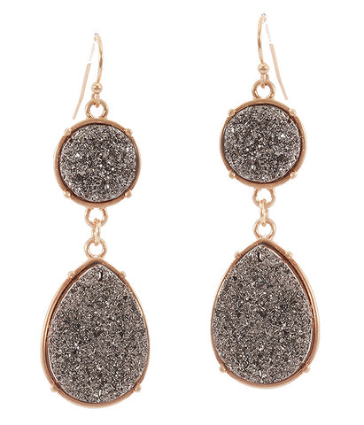 A Blonde and Her Bag Gray Druzy Teardrop Earring