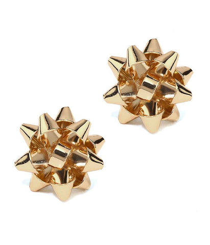 Gold Christmas Theme Gift Box Bow Stud Earring