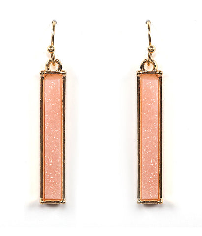 Gold Pink Druzy Bar Earring