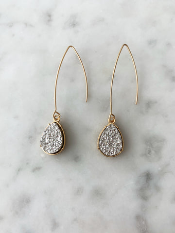 Gray/Gold Druzy Teardrop Long Drop Earring
