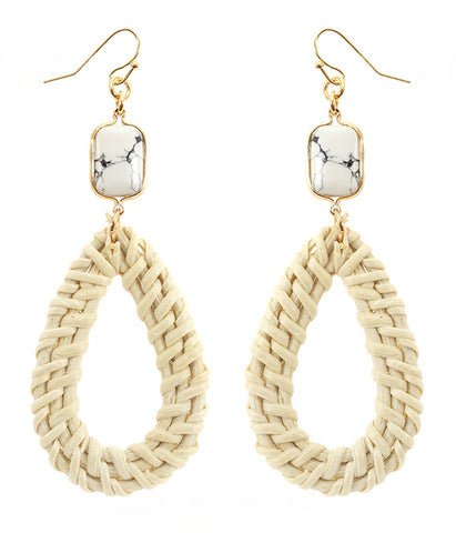 White Turquoise and Rattan Teardrop Earring