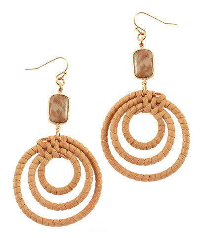 Tigers Eye Semi Precious Stone and Rattan Hoop Drop Earring
