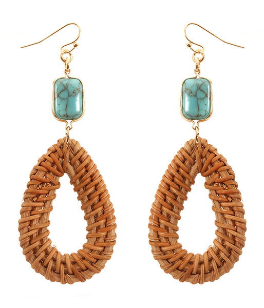 Turquoise and Rattan Teardrop Earring