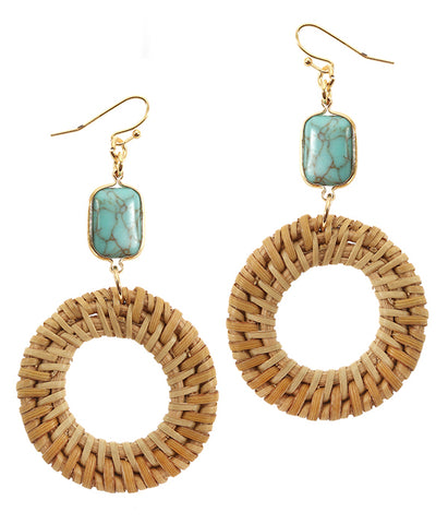 Turquoise Semi precious stone and rattan disc earrings