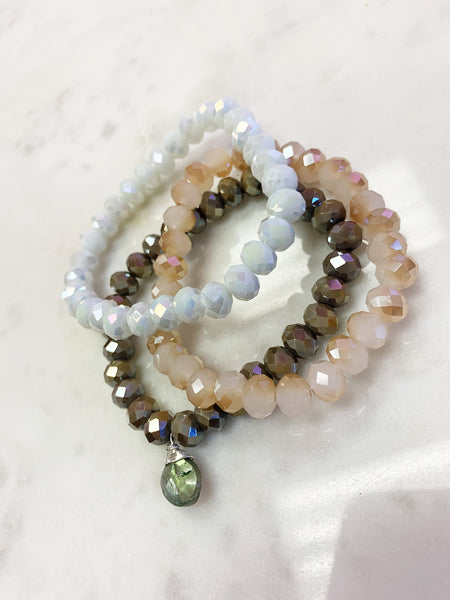 (Set of 3) Stretch Wrap Bracelet Beige White Jade, White Jade and tri-color Brown Pyrite Crystal with Sterling Silver Wrapped Labradorite