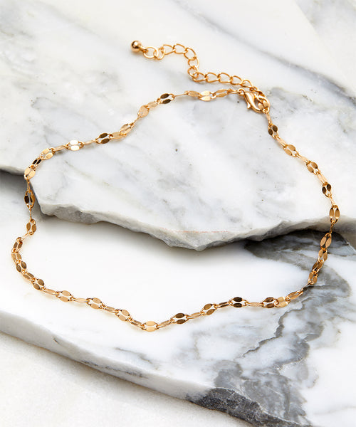 FINAL SALE Gold Choker Necklace Adjustable
