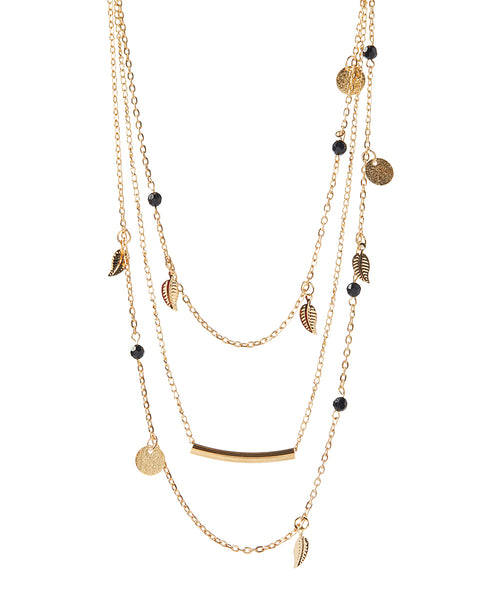 FINAL SALE Gold & Black Triple-Layer Necklace