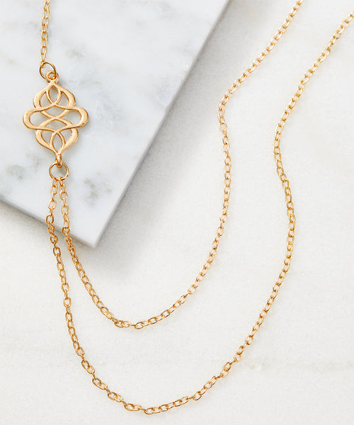 FINAL SALE 14k Gold-Plated Two-Strand Lotus Necklace