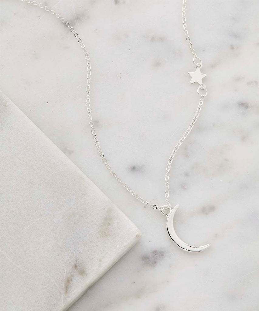 FINAL SALE Silver Moon & Star Pendant Necklace