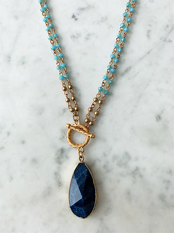 Aqua Blue Crystal Layered Necklace with Natural Stone Sapphire Drop