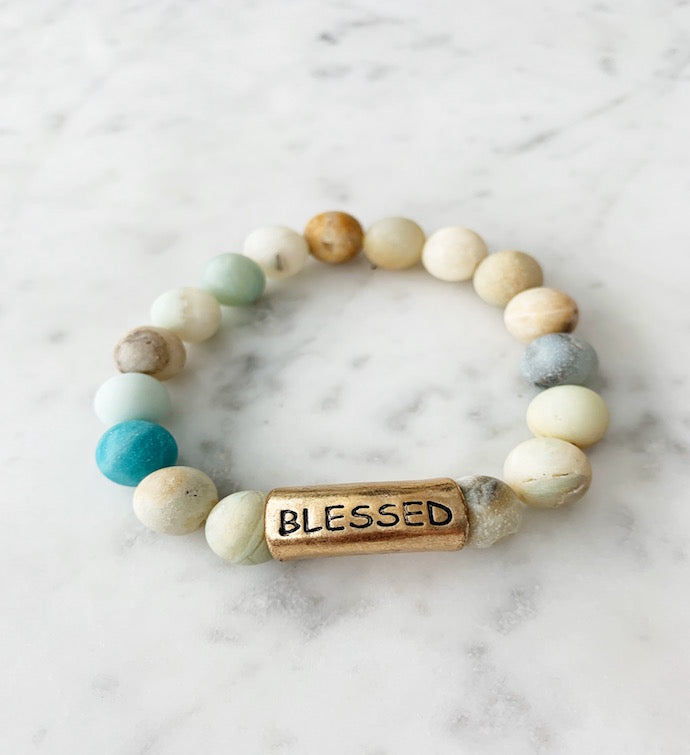 Blue Green Blessed Soap Stone Bracelet