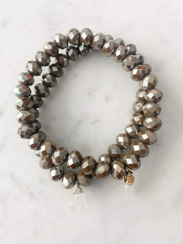 Stretch Wrap Bracelet Brown Pyrite Crystal with Sterling Silver and 14k gold fill Wrapped Moonstone