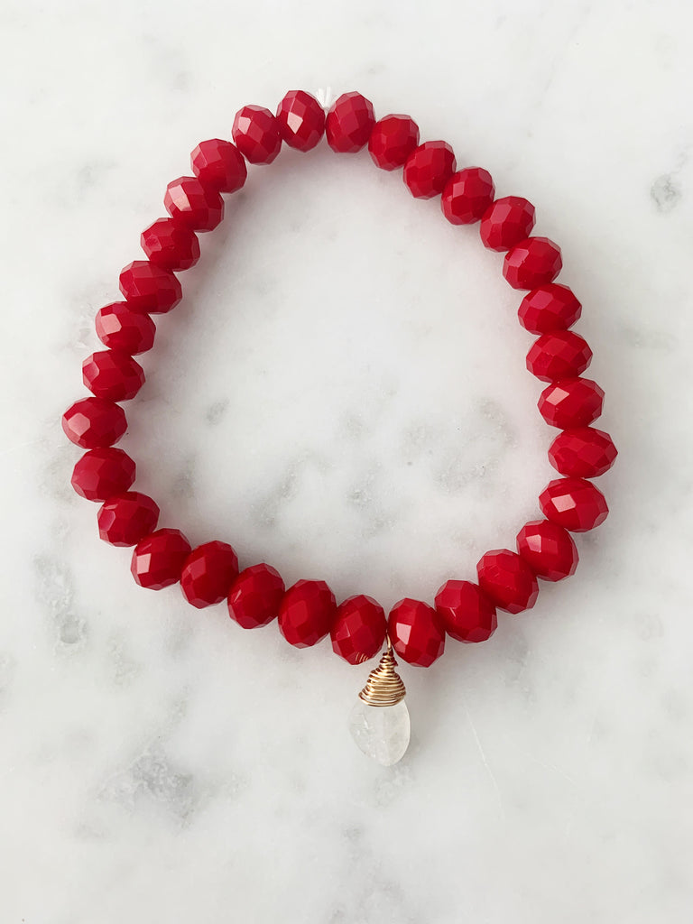 Stretch Wrap Bracelet Red Ruby Crystal with Sterling Silver and 14k gold fill Wrapped Moonstone