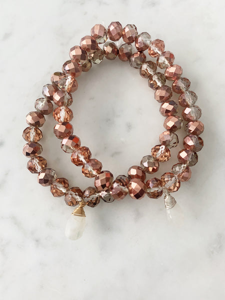 Stretch Wrap Bracelet Rose Gold Crystal with Sterling Silver and 14k gold fill Wrapped Moonstone