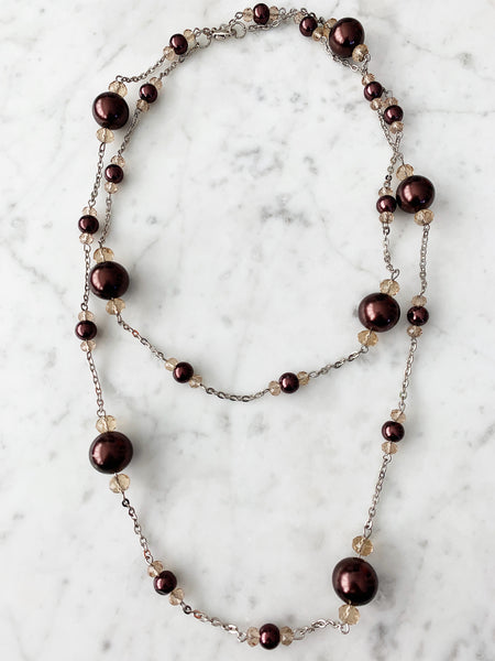 SALE Beige & Brown Beaded with Chain Necklace