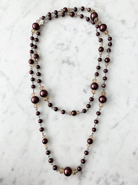 SALE Beige & Brown Beaded Necklace