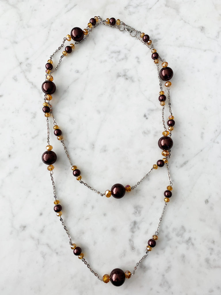 FINAL SALE Gold & Brown Beaded with Chain Necklace