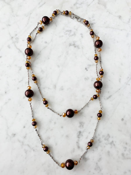 SALE Gold & Brown Beaded with Chain Necklace