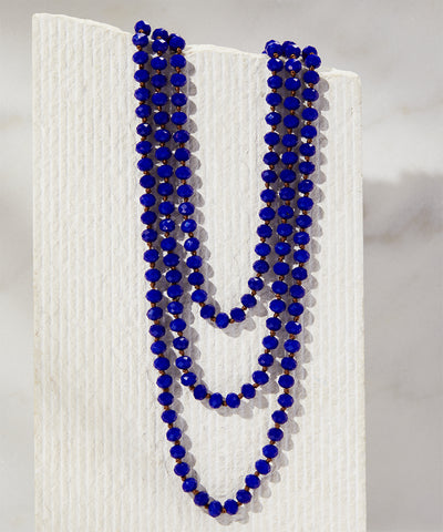 Royal Blue Crystal Beaded Necklace