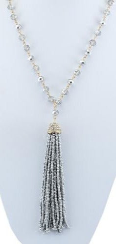 SALE Gray Crystal Tassel Necklace