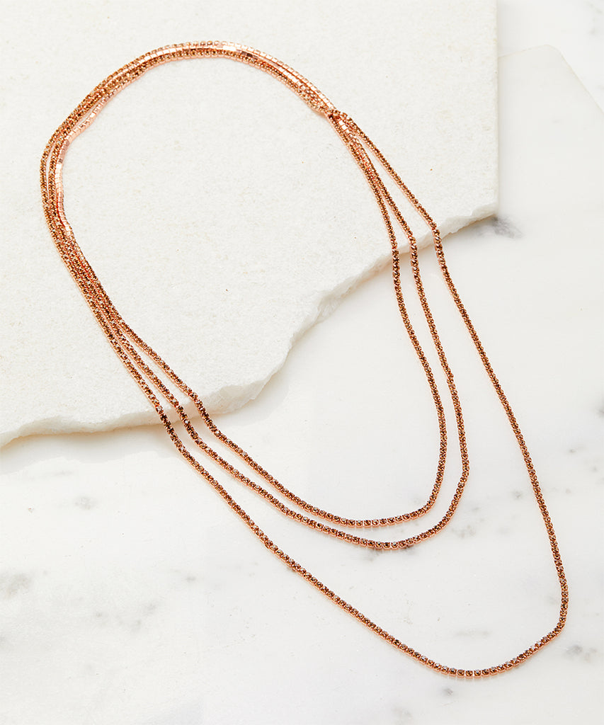 SALE Rose Gold Crystal Chain Necklace