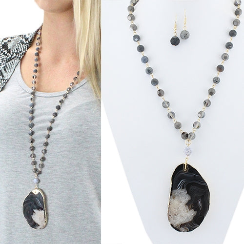Black Crystal with Agate Drop Necklace