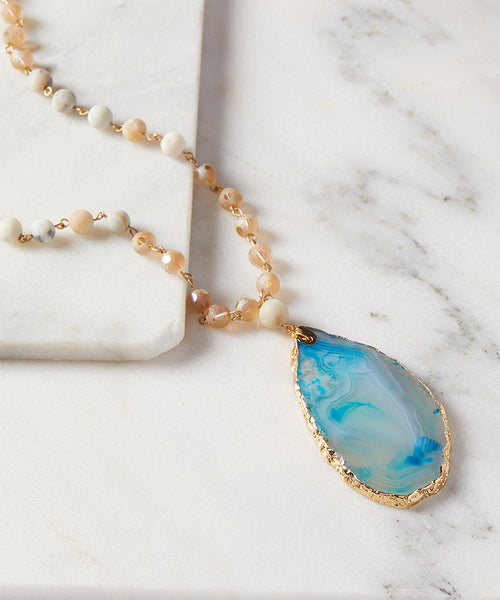 SALE Natural Cut Blue Agate Beaded Stone Necklace