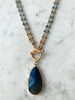 Crystal Layered Necklace with Natural Stone Drop