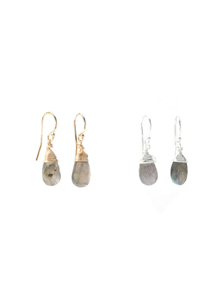 The Jill Short Drop Earring in Labradorite
