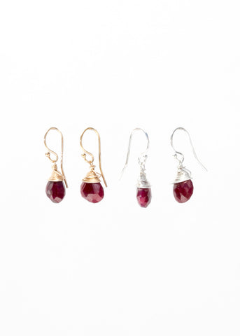 The Jill Short Drop Earring in Ruby