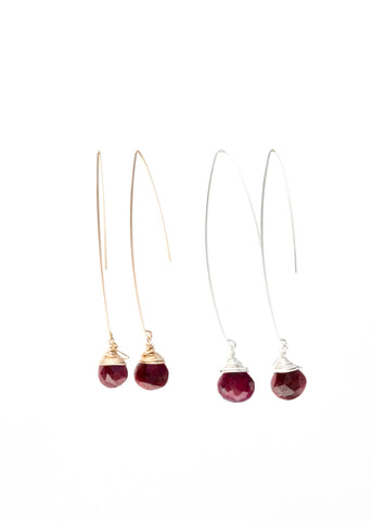 The Jill Long Wire Drop Earrings in Ruby