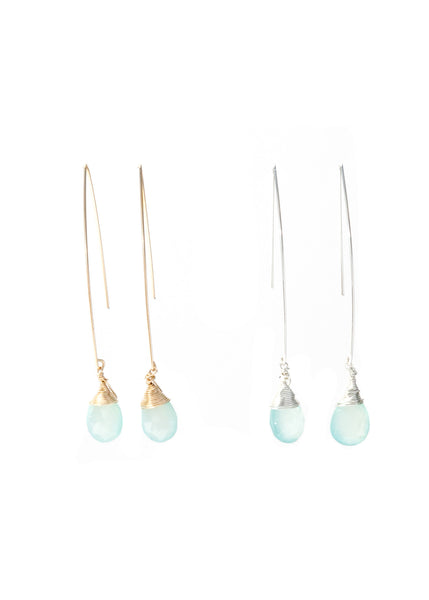 The Jill Long Wire Drop Earrings in Chalcedony