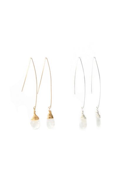 Jill Long Wire Drop Earrings in Rainbow Moonstone