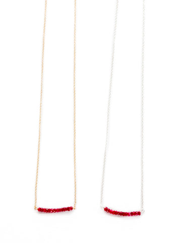 The Michelle Bead Bar Necklace in Ruby